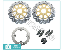 Golden New Full Set Front Rear Brake Discs Rotors + Brake Pads fit for Suzuki DL V-STROM 650 04 05 06 DL 1000 V-STROM 02-09
