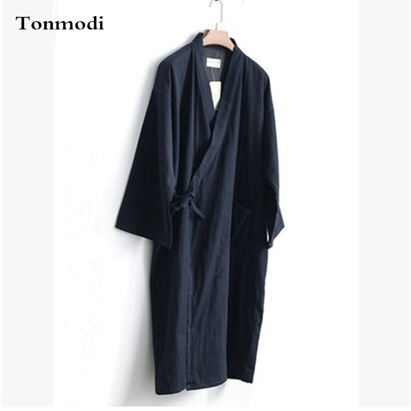 Japanese Style Sleep Robes Kimono Men Long Cotton Gauze Loose Sleepwear Kimono Robe