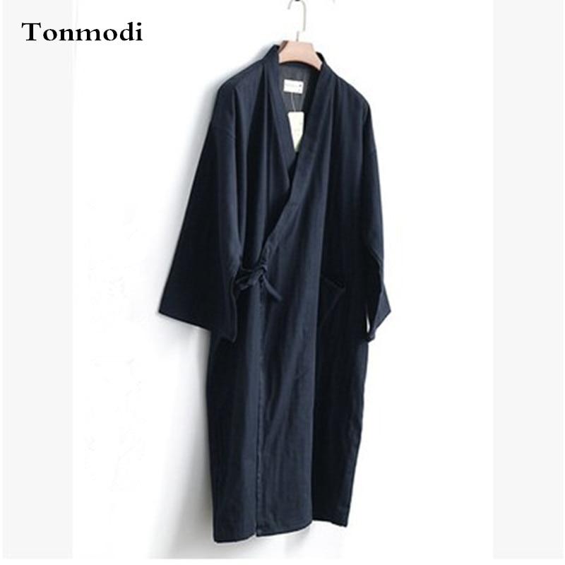 Japanese Style Sleep Robes Kimono Men Long Cotton Gauze ...