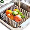 Kitchen Storage Rack Stainless Steel Draining Basket Rack Flexible Shelf Dish Washing Dinnerware Holder Storage Shelf