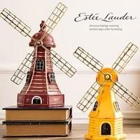 Vintage Dutch Windmill Building Miniature Resin Craft Retro Antique Dutch Windmill Model Ornaments Home Decoration Creative Gift