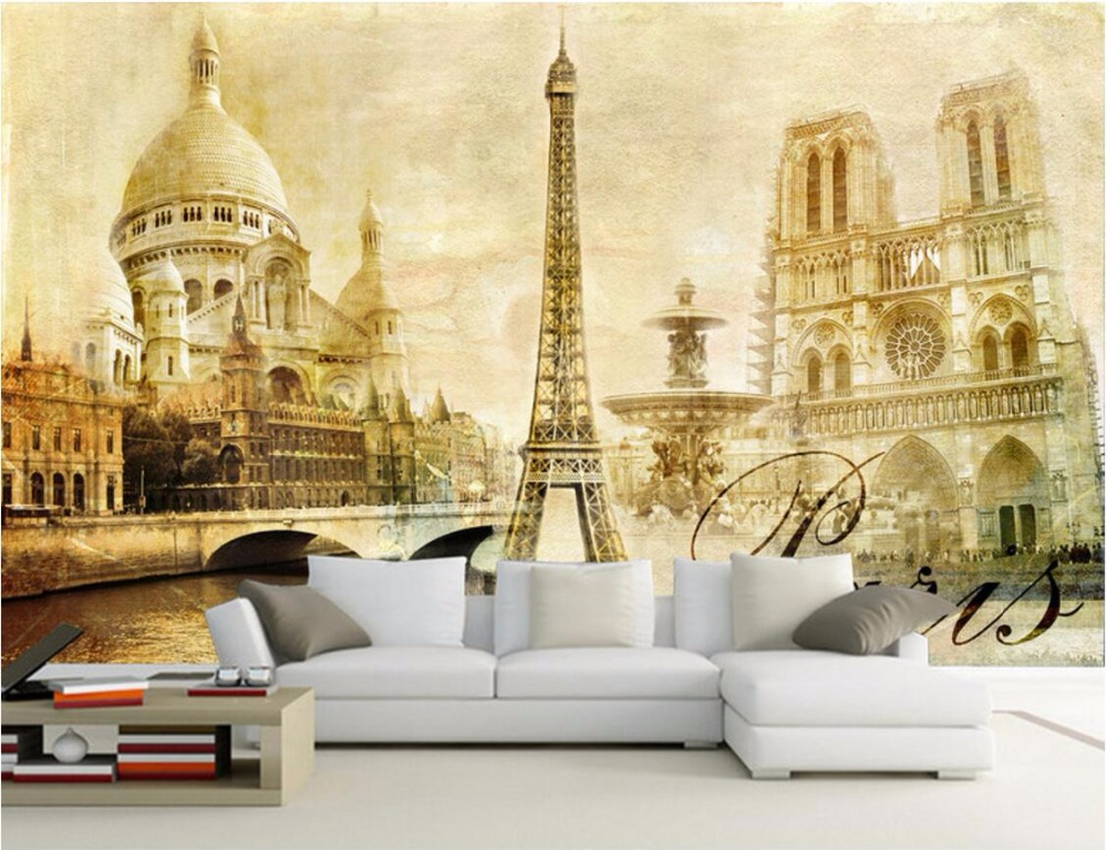 Wdbh custom mural 3d wallpaper european paris eiffel tower for Decorative mural painting
