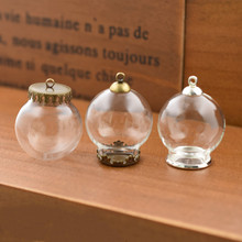 5set 25*15mm hollow glass globe with setting base beads cap set orb vials pendant bottle jewelry