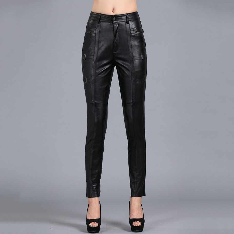 S 4XL Women Slim Pencil Pants All match Solid Color Thickened Genuine Leather Pants Plus Size