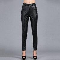 S 4XL Для женщин тонкий карандаш брюки, Цвет утолщенной Оригинальные кожаные штаны плюс Размеры овчины Капри PANTS03