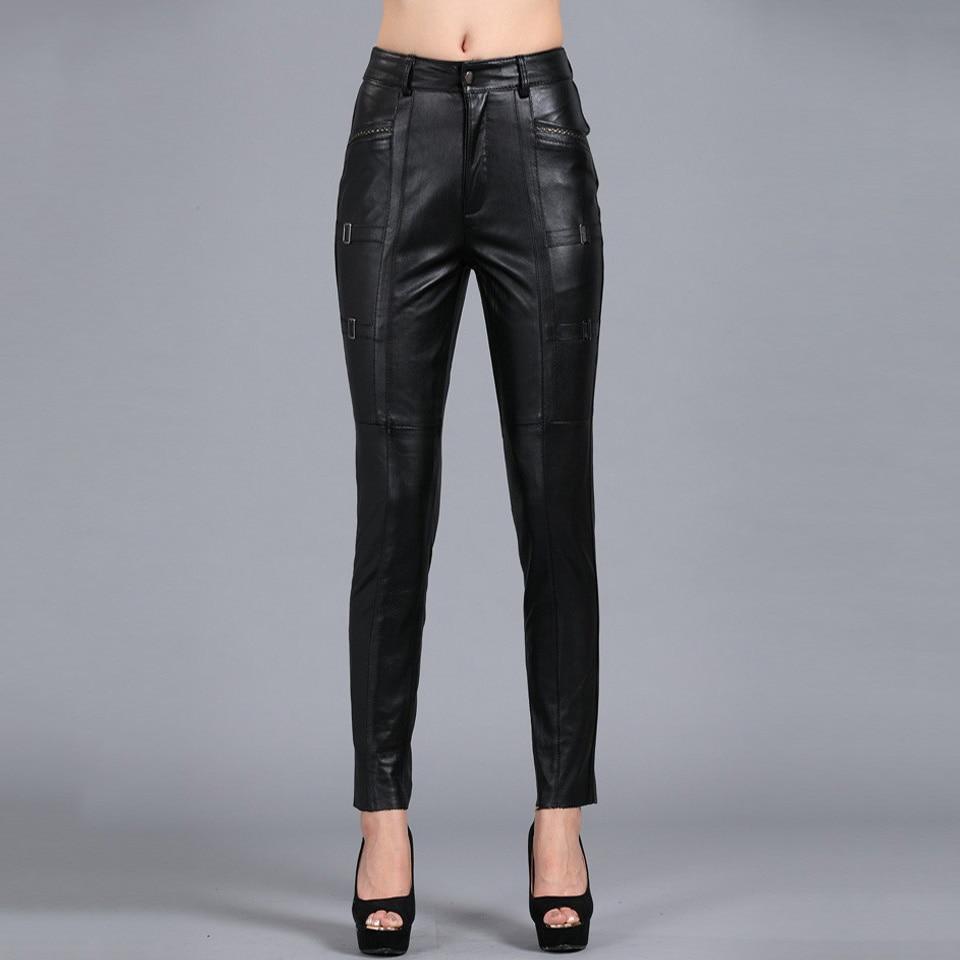 S-4XL Delle Donne Pantaloni Matita Sottile Del Tutto-Fiammifero di Colore Solido Ispessite Genuino Pantaloni di Pelle Più Il Formato di pelle di Pecora Capris PANTS03