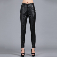 S 4XL Women Slim Pencil Pants All match Solid Color Thickened Genuine Leather Pants Plus Size Sheepskin Capris PANTS03