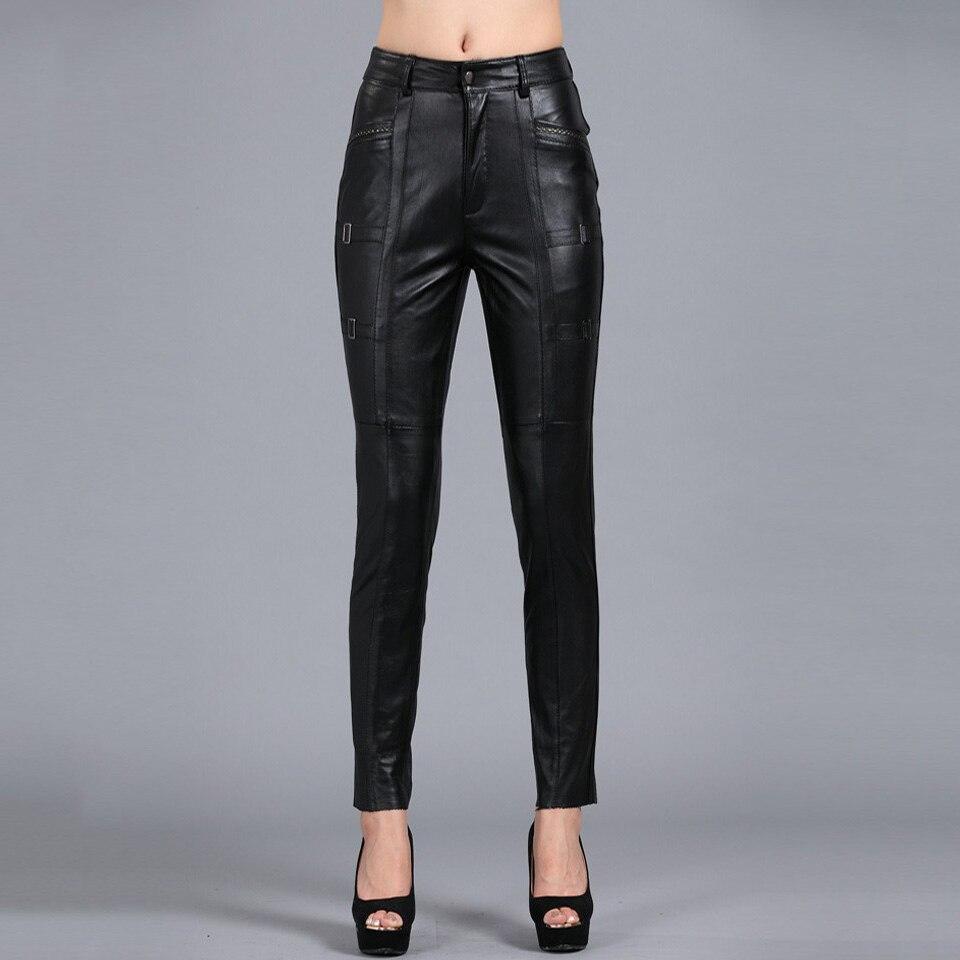 S-4XL Femmes Mince Crayon Pantalon Tout-Allumette Solide Couleur Épaissie Véritable Pantalon En Cuir Plus La Taille de Mouton Capris PANTS03