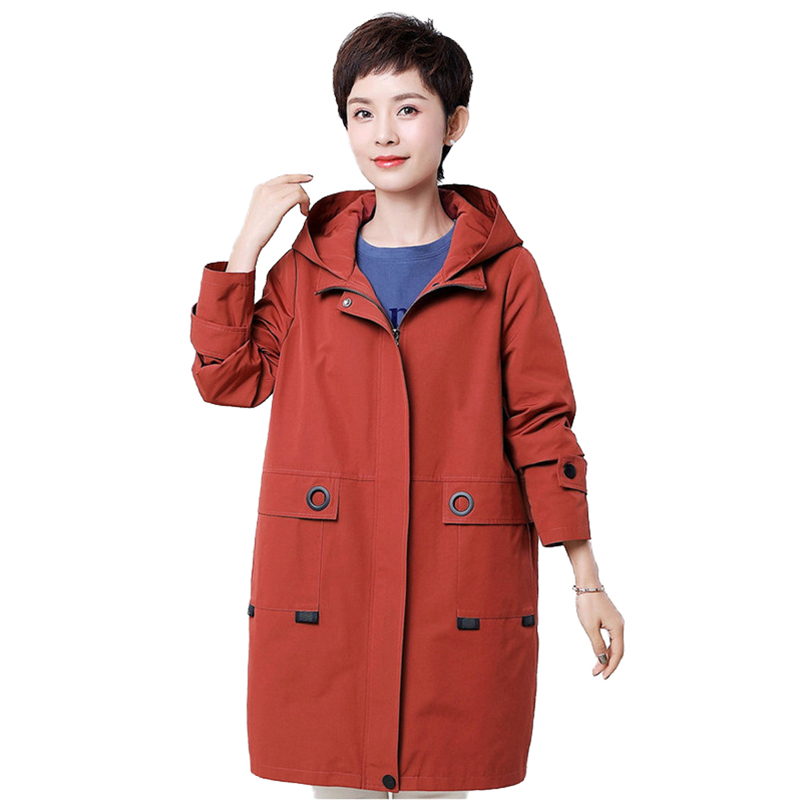 2019 High quality Spring autumn   trench   women coat Hooded windbreaker female Plus size 4XL zipper   trench   Loose Casual tops A2870