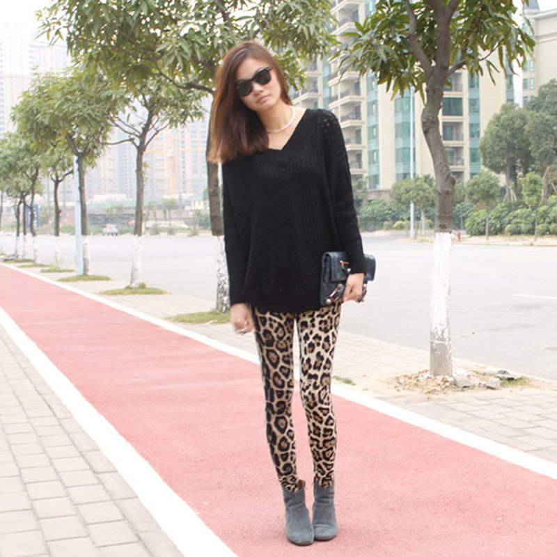 Spring Autumn Women Sexy Leopard Printed Stretch Cotton Lady Girls Tight Pants GDD99