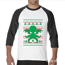 2017 Newest Fashion Funny Cthulhu Cultist Ugly Sweater Pattern funny raglan sleeve t shirt men
