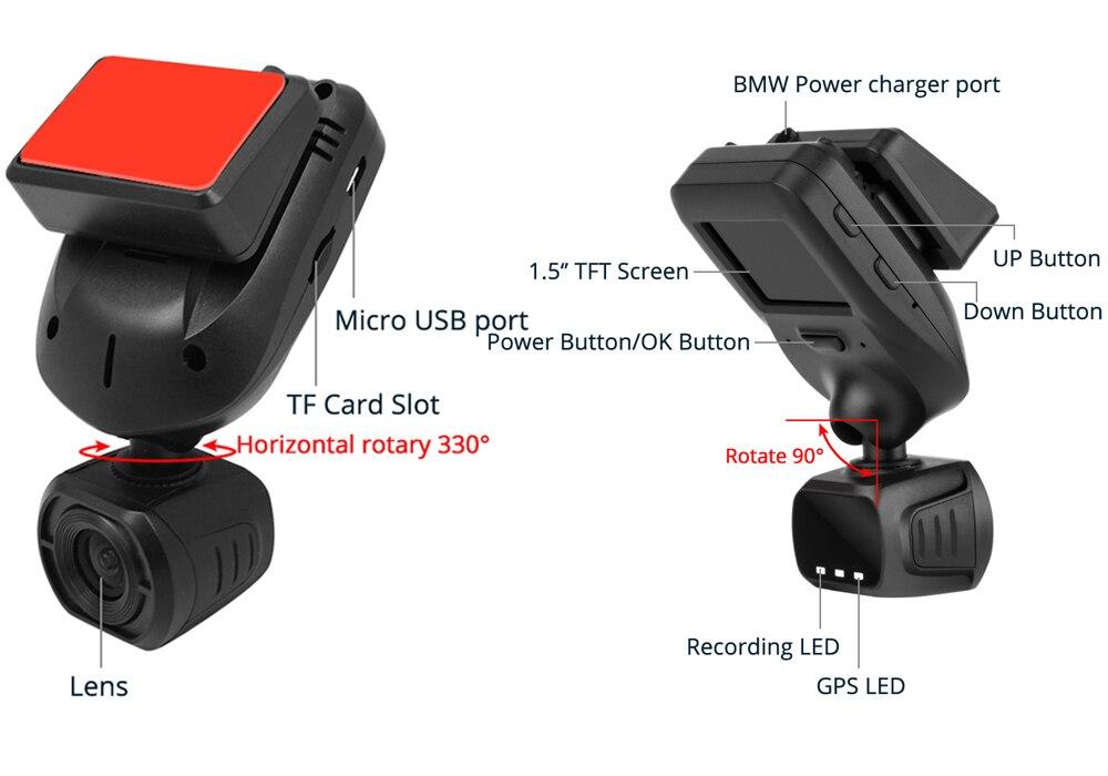 Conkim nouveau Mini Q9 HD voiture DVR 2 caméras avant 1080P + caméra de vue arrière avec Super condensateur voiture enregistreur Mode de stationnement GPS Tracker - 2
