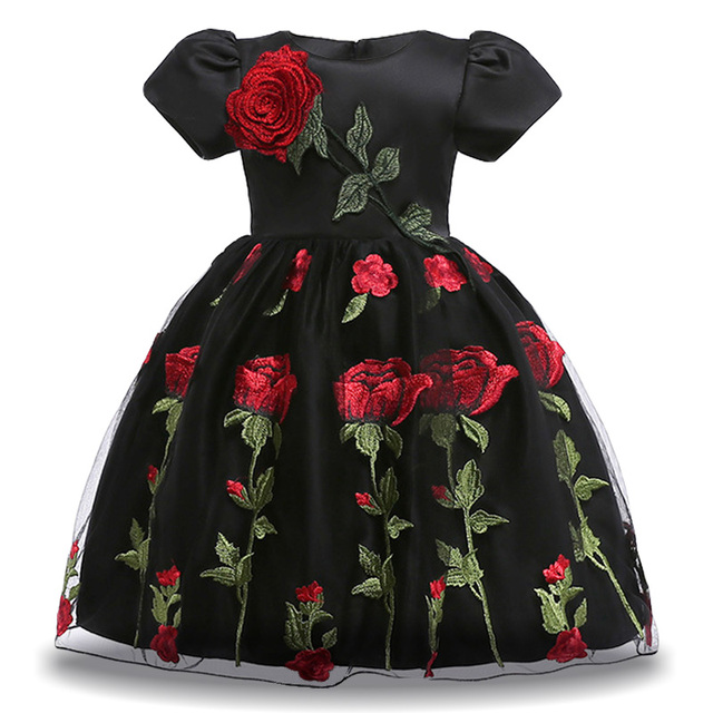 Kids Dresses For Girls Floral Embroidery Princess Dress Infant Girls Party Dresses Wedding Flower Girls Dress Children Clothing