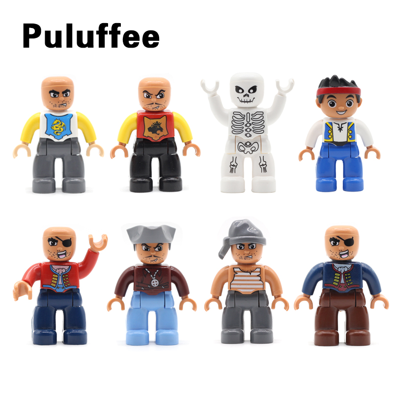 Doll Model Adventure Pirate Figure Set Bricks Big Particles Building Blocks Accessory Compatible With Duplo DIY Kids Toys Gift 95pcs big size princess collection super busy market model building blocks bricks kid gift compatible with lego duplo