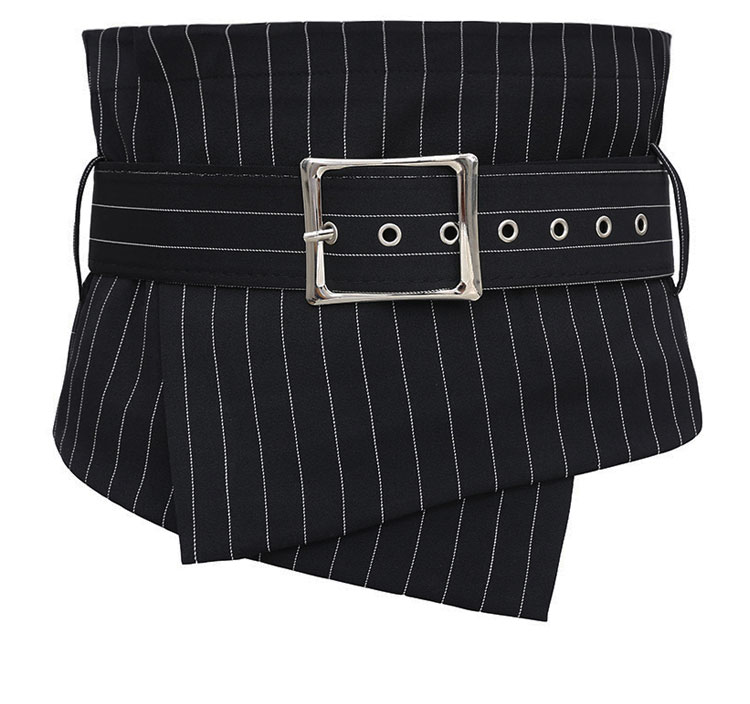 Women's Runway Fashion Striped Fabric Cummerbunds Female Dress Corsets Waistband Belts Decoration Wide Belt R1105