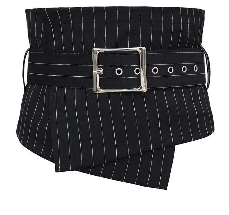 Women's Runway Fashion Striped Fabric Cummerbunds Female Dress Corsets Waistband Belts Decoration Wide Belt R1105