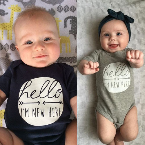 2019 Summer Cute Newborn Infant Baby Boy Girl Letter Printed Short Sleeve Romper Jumpsuit Clothes Outfits 0-24M