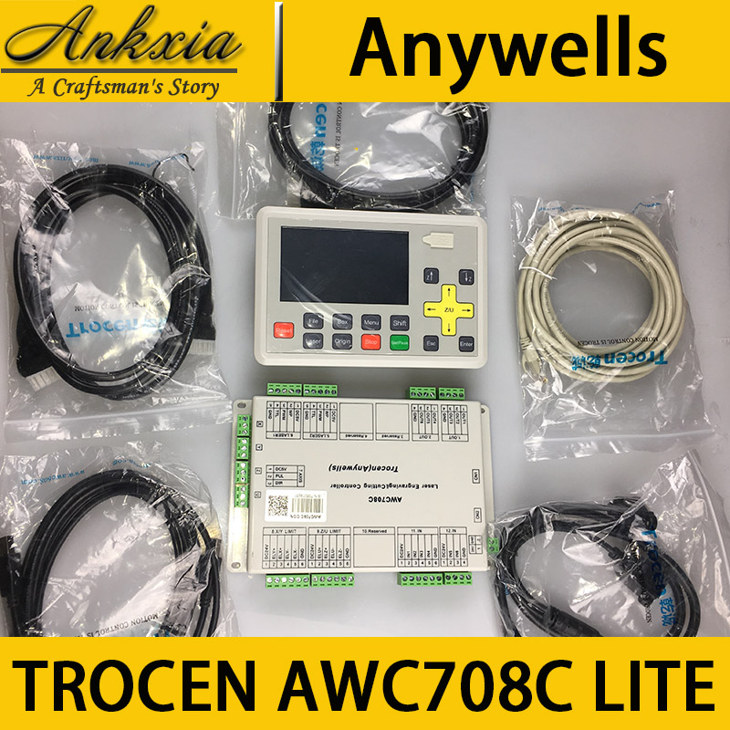 Trocen Anywells AWC708C LITE Co2 Laser Controller Board Card System For Laser Cutting Machine Engraving Machine colorful display laser engraving cutting control system awc708c lite laser control main board wholesale for co2 laser parts