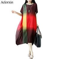 Aelorxin Beach Dress Summer Dresses Women Leisure Gradient Color Linen White Vintage Dress Robe Femme Ete