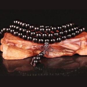 Image 4 - 6mm 8mm 10mm 12mm * 108 Perlen Ebenholz Buddhistischen Buddha Meditation Gebetskette Mala Armband frauen Männer Yoga Schmuck