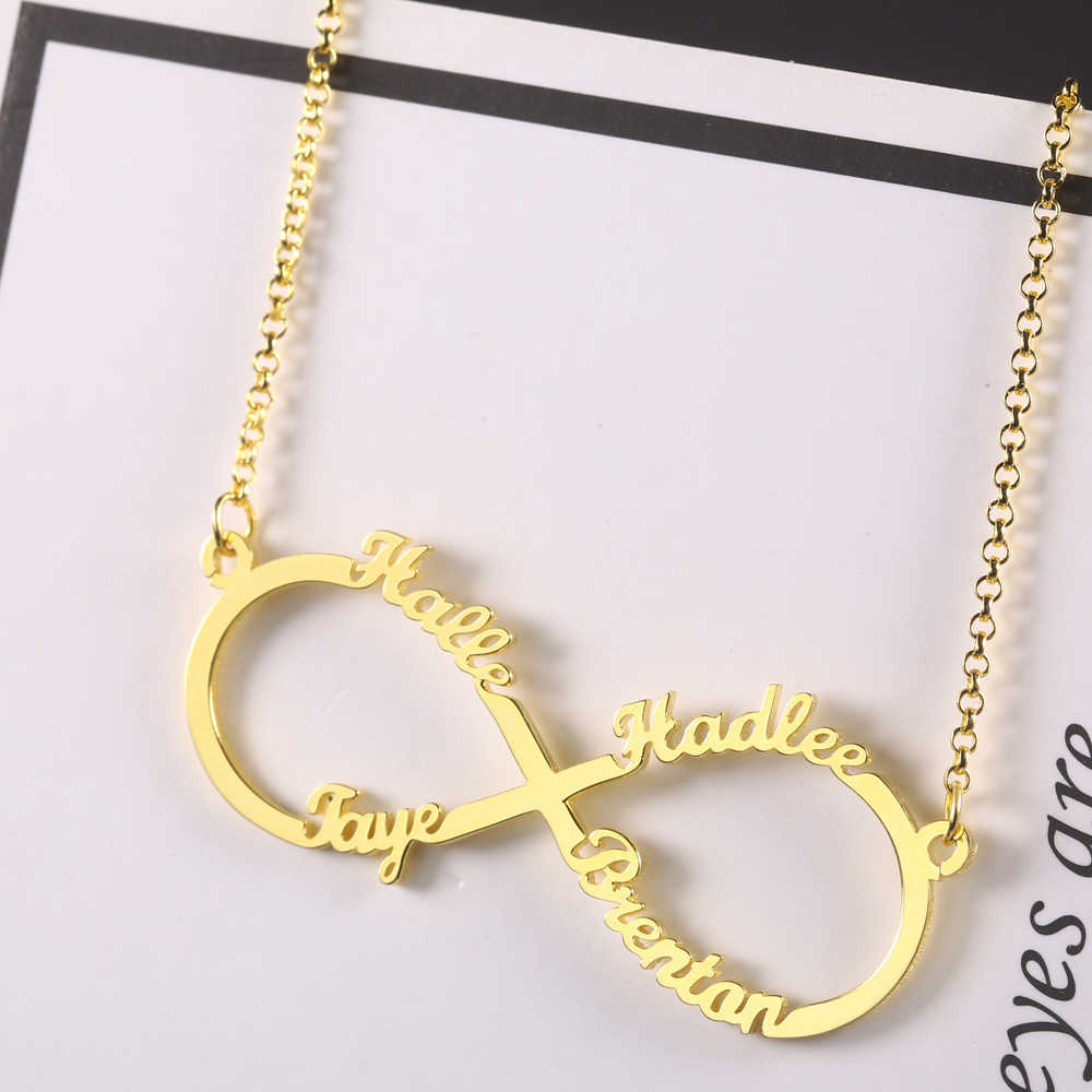 Stainless Steel Infinity Personalized Name Necklace Women Namenecklaces & Pendant Custom Four Name Necklace Family Gift Dropshipping