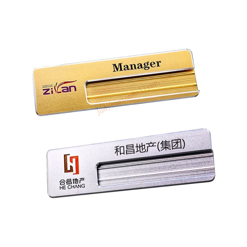 20pcs custom ENGRAVED name tag with safety pin aluminum name badge holder personalized employee id badge (10)