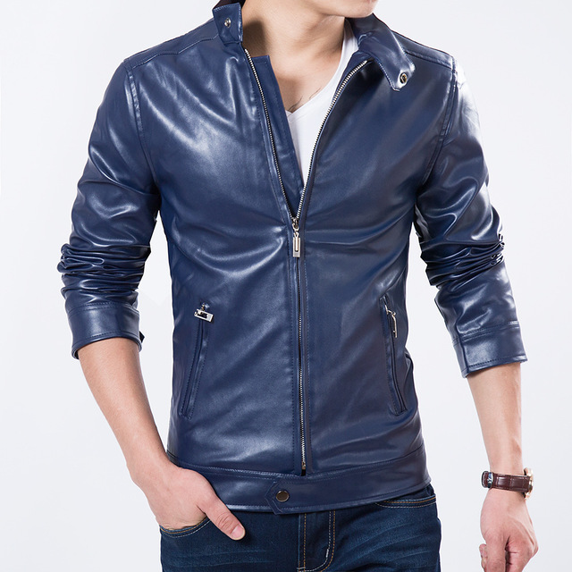 New Sales Top Men Fashion Spring  Leather Jacket  Solid Slim Stand Collar Motorcycle Style Man Outwear casual Coat