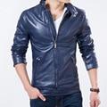 Nuevo Top Ventas Hombres Moda Primavera Chaqueta de Cuero de Estilo Sólido Delgado Soporte de Motocicletas Collar Hombre Outwear la Capa ocasional