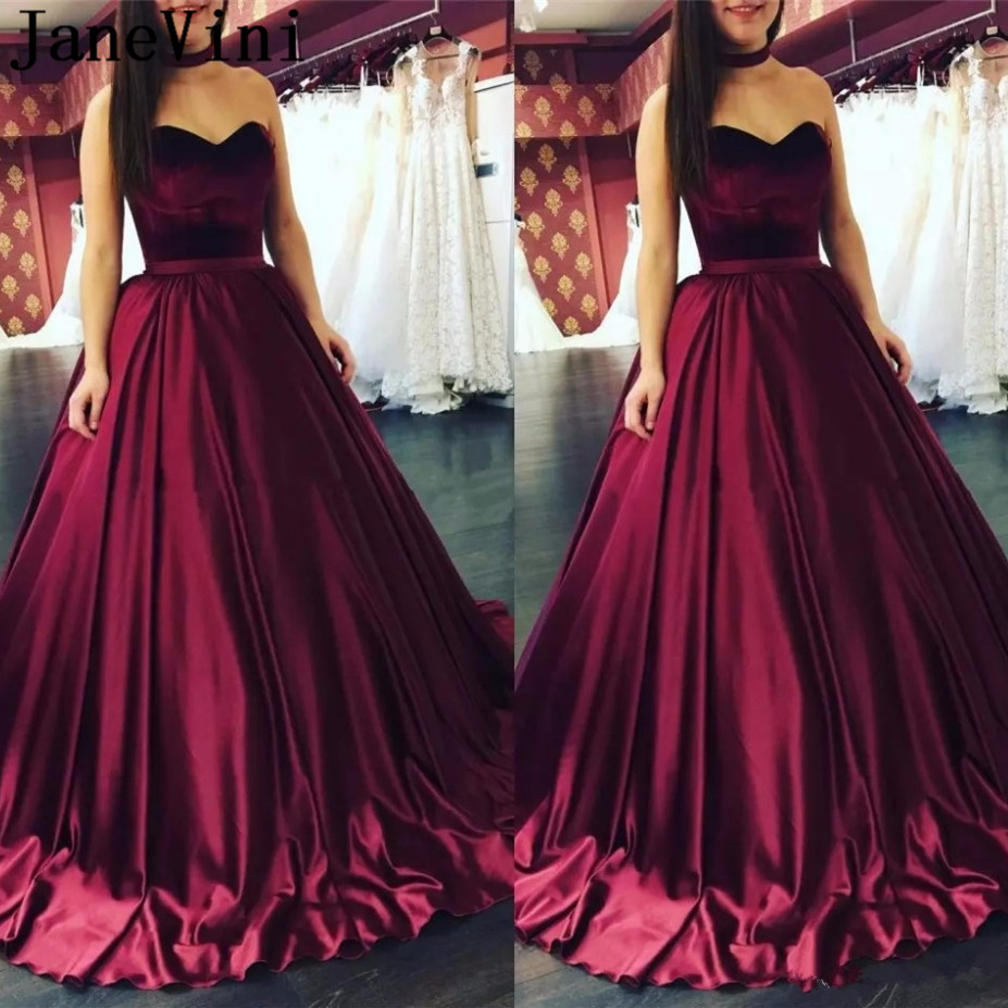 JaneVini 2019 Elegant Plus Size Burgundy   Bridesmaid     Dress   Sweetheart Sleeveless Lace-up Back A Line Sexy Long Prom Party   Dresses