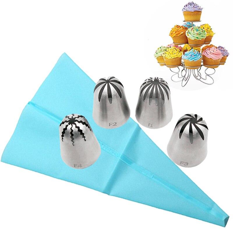 5 piezas gran pastel de crema pastelería bolsa Acero inoxidable Icing Piping consejos Set pasteles decoración herramientas de hornear molde de la herramienta