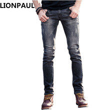 LIONPAUL 2017 New Plus size 29-36 Silm Jeans Mens Larger Size Ripped Jeans Men Famous Brand Casual Black Pantalon Jean Hombre