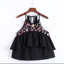 YSMILE Y Fashion Cotton Camisole Embroidery Floral Women Ruffles With Bow Tie Tank Tops Summer Beach