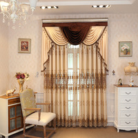 American Style Curtains for Living Room Floor to ceiling, Water soluble Curtains for Bedroom Embroidered Curtains Valance
