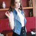 Vintage Retro Ladies Women Sleeveless Button Cardigan Washed Blue Denim Sequin Jean Vest Coat Jacket Outerwear S-3XL 03083