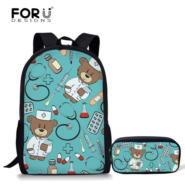 f82782cefbd FORUDESIGNS School Bags Set for Teenager Girls Bookbag and Pencil Bag  Primary Bagback Movie Custom Made