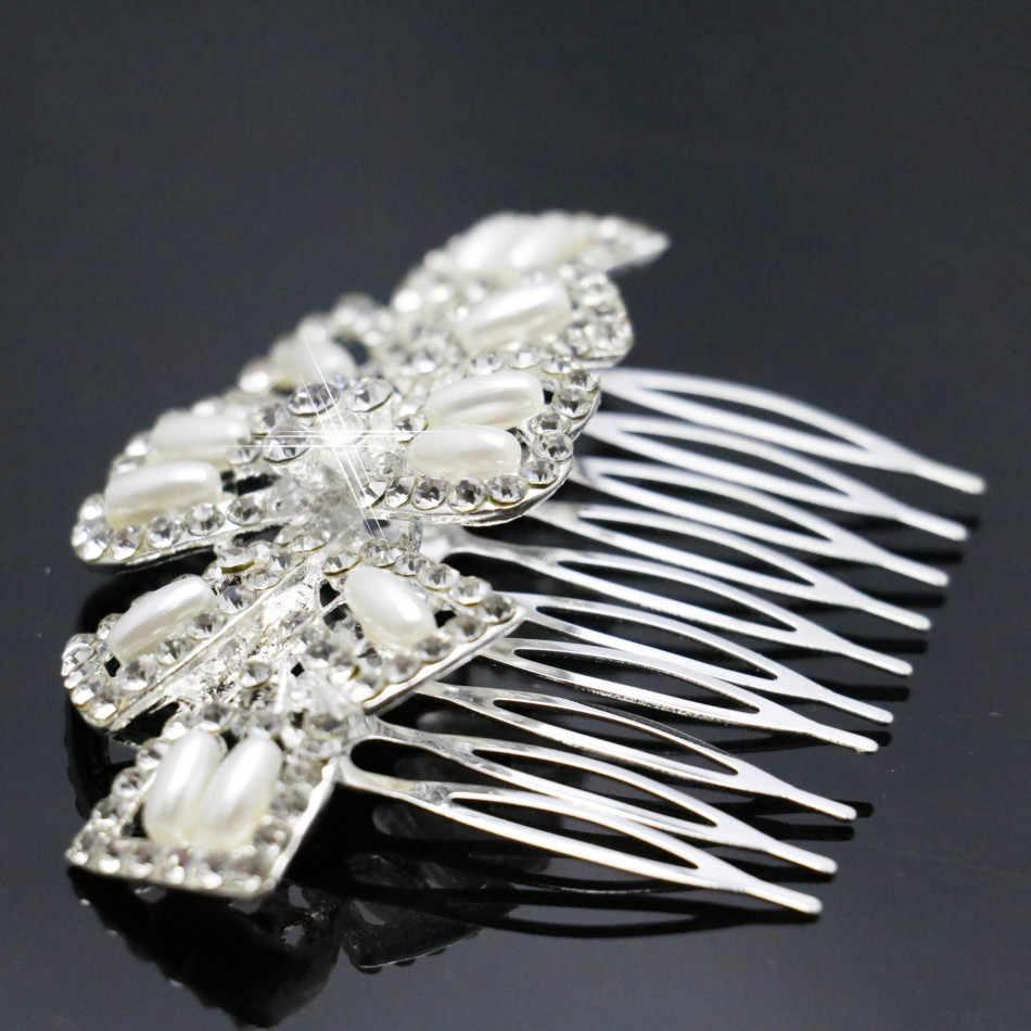 2019 Pernikahan Crystal Berkualitas Tinggi Jepit Rambut Fashion Rambut Mutiara Diamante Sisir Rambut Klip untuk Wanita Baru Hiasan Kepala Perhiasan Aksesoris