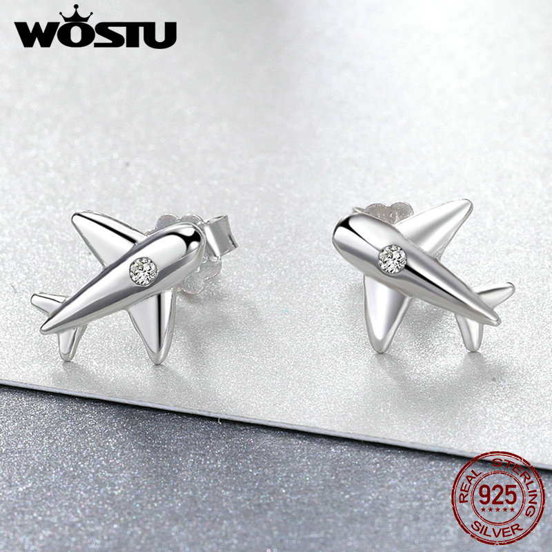 WOSTU Authentic 100% 925 Sterling Silver Original Airplane Stud Earrings for Girl Women Party Anniversary Jewelry brincos FME153 image