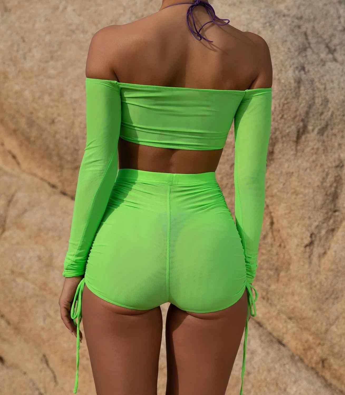 Sexy See Through Mesh 2 Stuk Pak Vrouwen Uit de Schouder Lange Mouw Transparante Crop Top en Elastische Skinny Shorts outfits