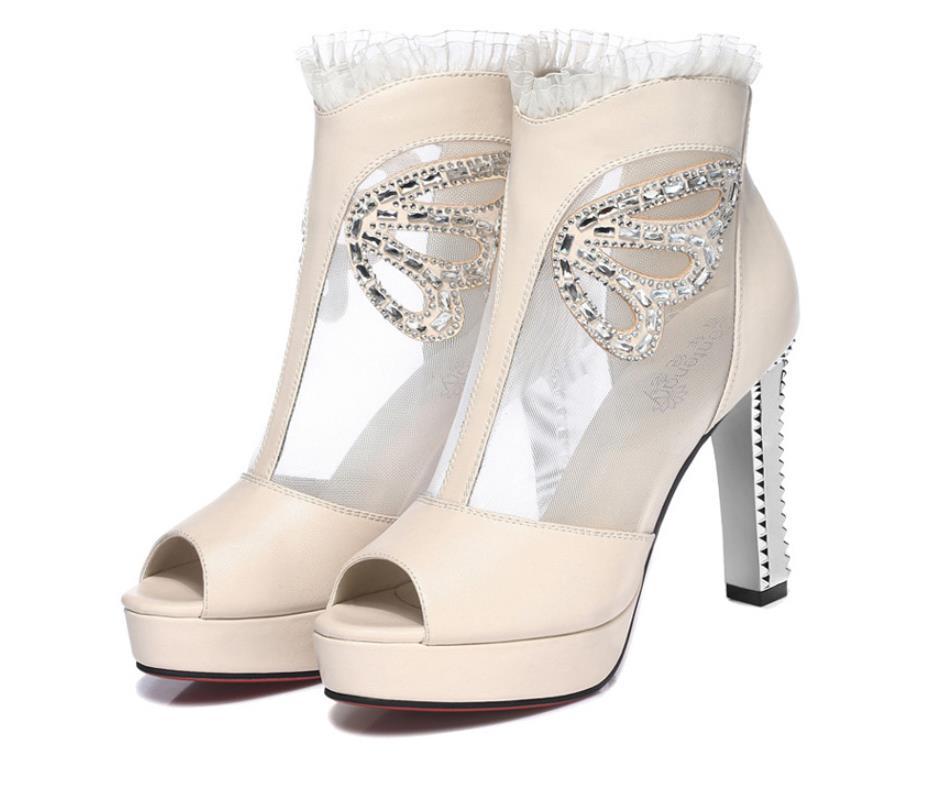 D'été Femmes 2019 Épais Bouche Nouvelle noir Chaussures De Hauts Talons Avec Dames Simples Beige Sandales Maille À Poissons qdpt5q
