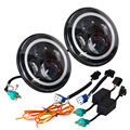 """7"""" Inch 80W Led Angel Eyes Daymaker Motorcycle Headlight H4 DRL Halo Angel Eye For Jeep Wrangler JK Harley 7 inch Plug and Play"""