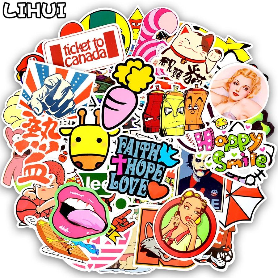 200pcs Mixed Random Sticker Funny Anime Waterproof Stickers Gift for Children Sticker on Laptops Skateboard Suitcase Phone Bike Стикер