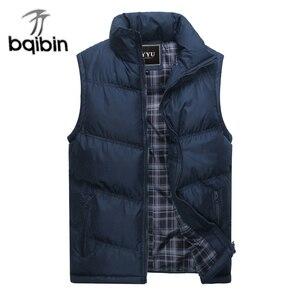 Image 1 - 2019 nova marca dos homens jaqueta sem mangas colete inverno moda casual casacos masculinos algodão acolchoado colete masculino engrossar colete 3xl