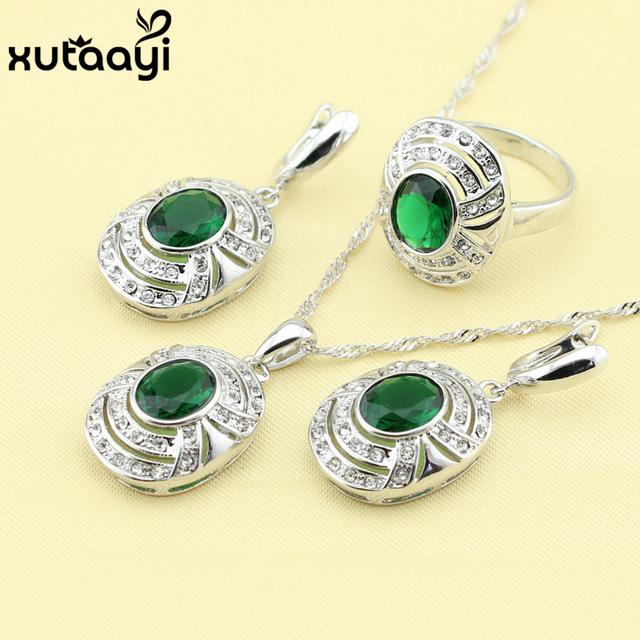 La boda de Tres Piezas de Joyería Set 925 Joyería de Plata Verde Esmeralda Imitado Pendiente Del Anillo Colgante Collar Para Las Mujeres