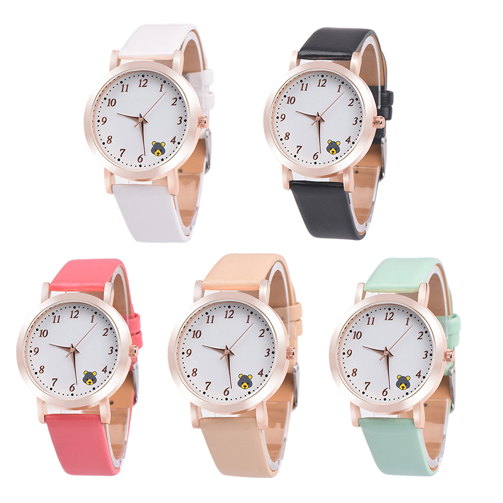 Casual Ladies Watches Quartz Wristwatch Fashion Cartoon Cat Leather Quartz Analog Women Watch 1