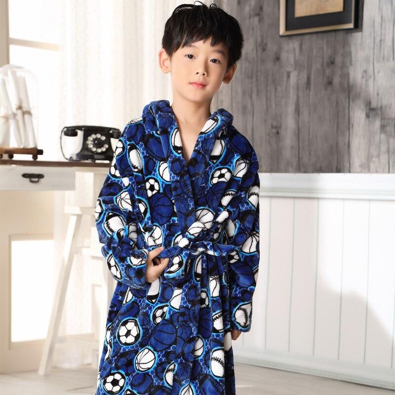 Children'S Bathrobes Printing Football Stars Autumn Winter Big Boy Cartoon Lengthened Flannel Robes For Boy Girls Kids 5-13 Age