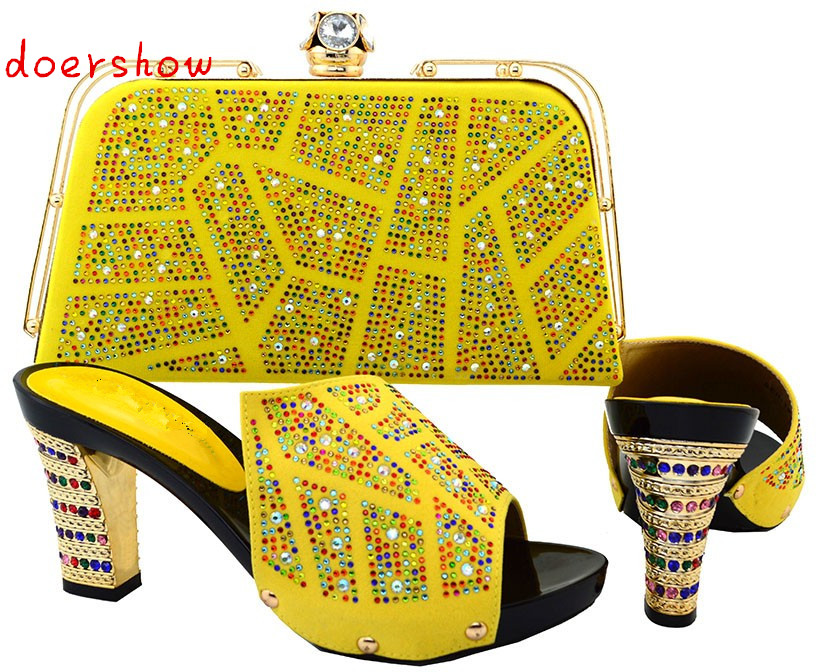 doershow African Shoe and Bag Set for Party In Women Beautiful Designs Heel  11.5cm Italian Matching Shoe and Bag Set HJT1-27 shoes and bag to match italian african shoe and bag set for party in women italian matching shoe and bag set doershow hjt1 25