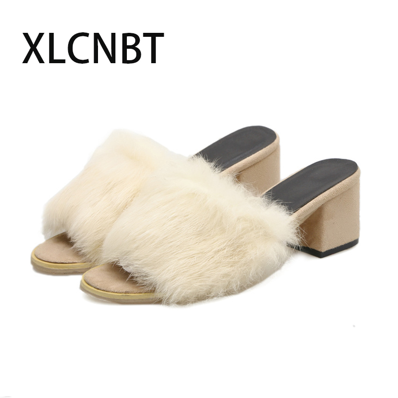 Womens Furry Slippers Ladies Cute Plush Fluffy Slippers spring summer Slippers Women high heel sexy ladies slides furry shoes