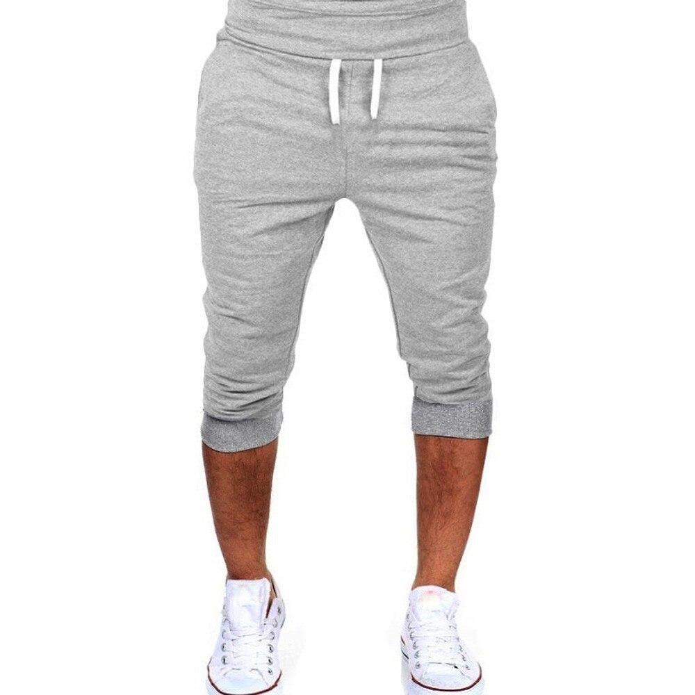 Men's Solid Color Fitness Shorts Running Jogging Sports Fitness Bodybuilding Pants Men's Sports Training Brand Knee Long Shorts