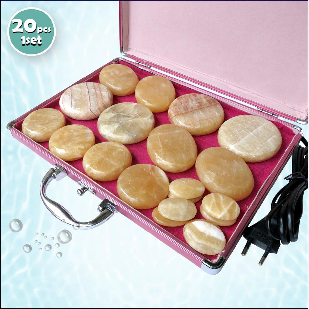 New type 20pcs set Hot stone body massager yellow Jade Salon SPA with heater bag CE