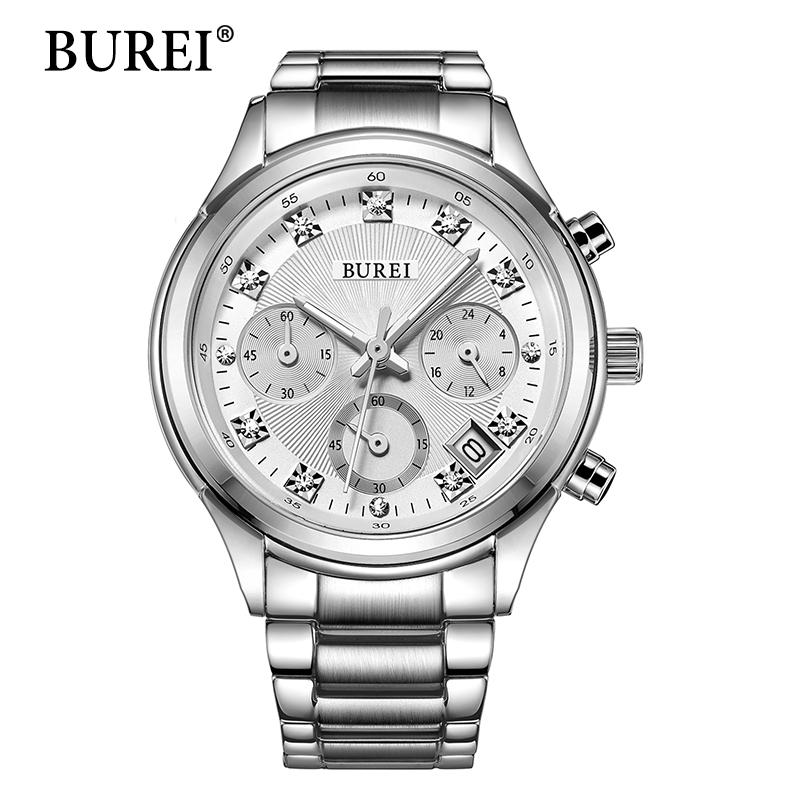 Prix pour BUREI Femmes Montre À Quartz Dames Designer Horloge Montres De Luxe Classique En Acier Inoxydable Date Montre Femme Cadeau 2016 Vente Chaude